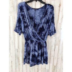 One Clothing 🦄 blue tie dye romper size M